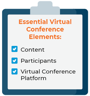 These are the key elements of a virtual conference.