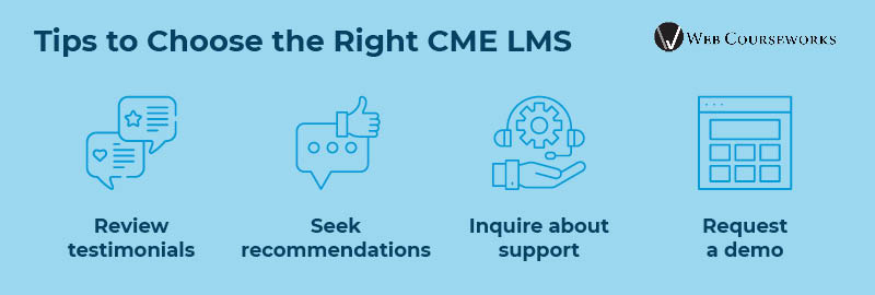This graphic summarizes tips for choosing a CME LMS.