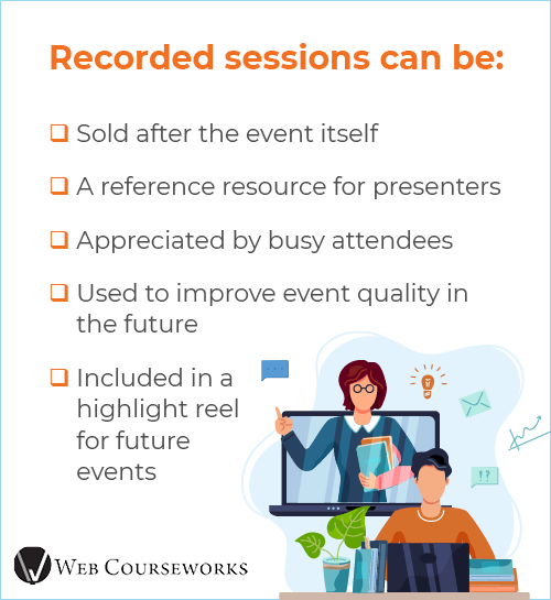 This graphic shows the benefits of recording sessions when hosting a virtual conference.