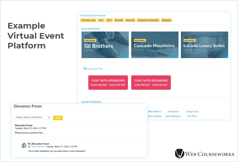 This is an example virtual event platform that you can use when hosting a virtual conference.