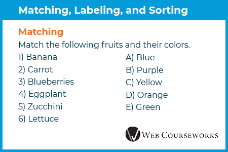 Matching, labeling, and sorting are great eLearning assessment types.