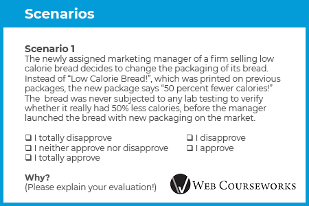 This is an example scenario eLearning assessment question.